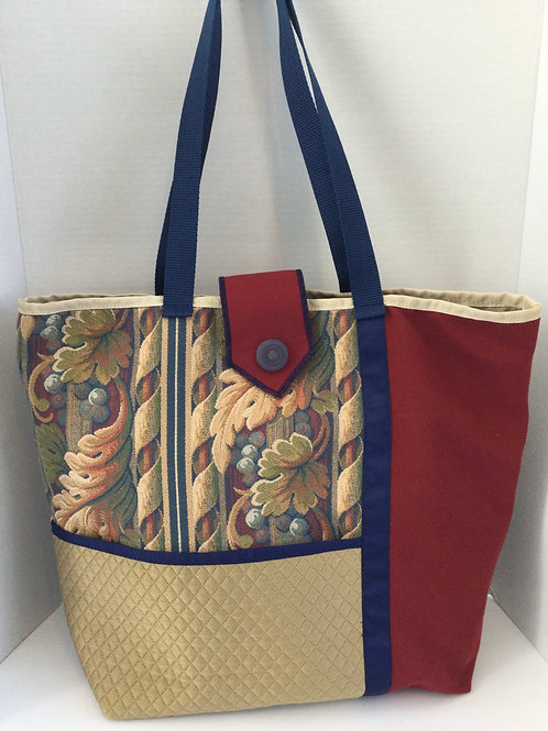 Large Tote/ Project Bag- Navy, Burgundy, Red- Grapes & Leaves