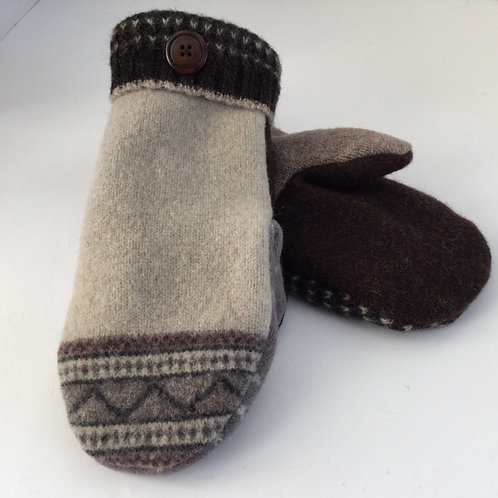 Sweater Mittens- brown, taupe