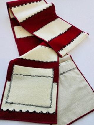 Scarf w/ pockets- burgundy & white