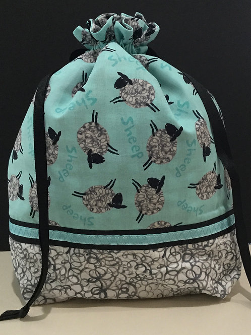 Draw String Tote/ Project Bag- teal, gray, black