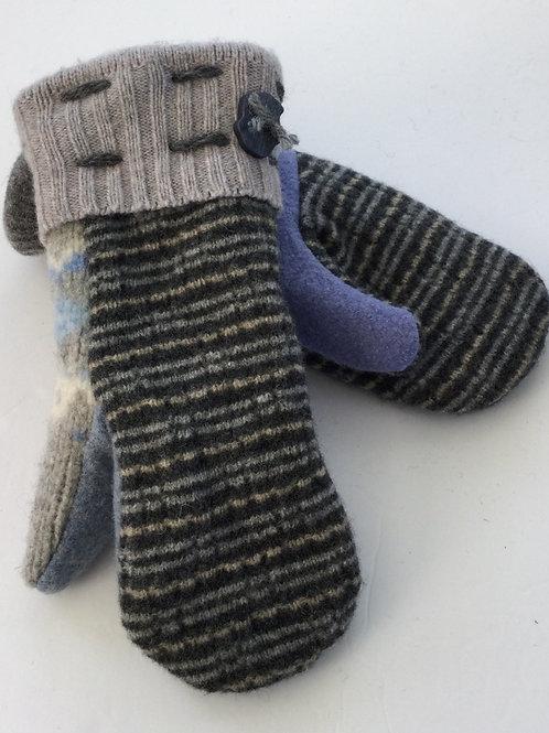 Sweater Mittens- gray, blue, creme