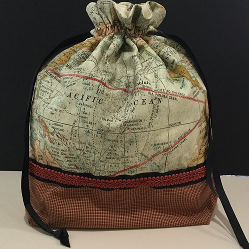 Draw String Tote/ Project Bag- teal, earth tones