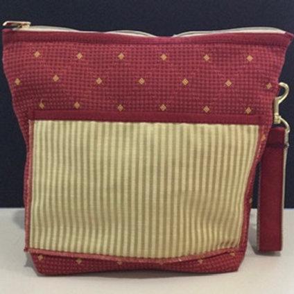 Large Wristlet- red check, gold stripe