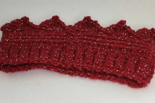 Crown Ear Warmer- child- red w/ sparkles