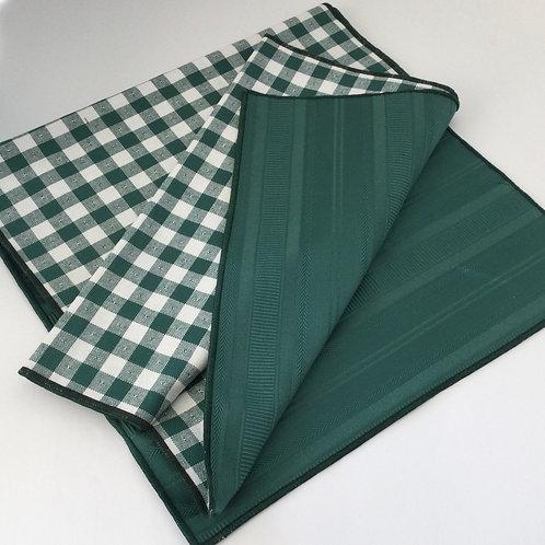 Reversible Table Runner- green & white w/ green textured stripe