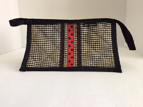 Small Wristlet/ Project Bag- Black, red Taupe