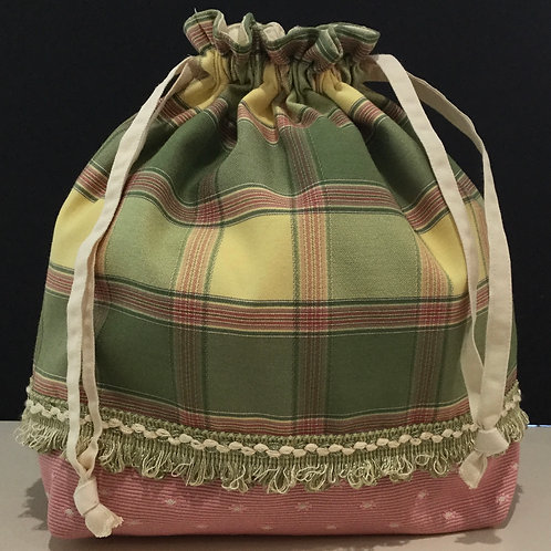 Draw String Tote/ Project Bag- pink, sage, yellow