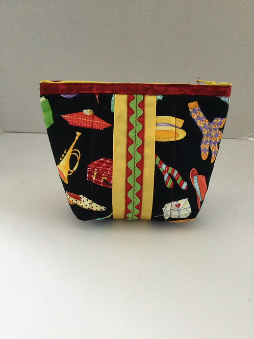 Tiny tote- black w/ colorful items