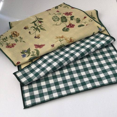 Reversible Table Runner- yellow floral w/ green & white check