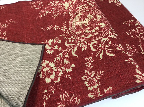 Reversible Table Runner- flowers 7 birds- burgundy & creme; shaded taupe