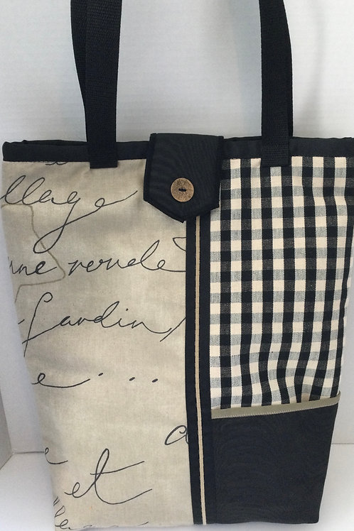 Large Tote/ Project Bag- black, taupe, creme designs