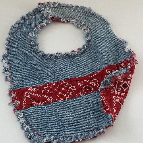 Reversible Denim Bib- red handkerchief theme