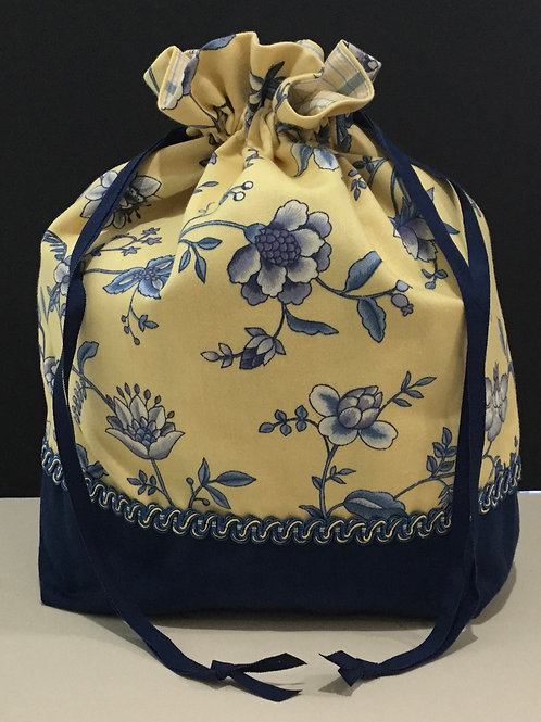 Draw String Tote/ Project Bag- yellow, blue, navy
