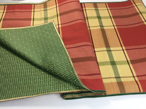 Reversible Table Runner- red-orange, yellow green plaid/ forest green