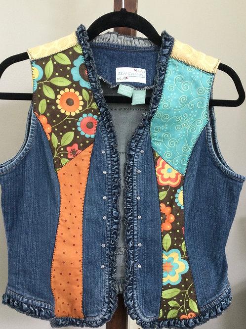 Jeans Vest- flower theme- S