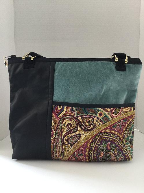 Medium Shoulder Bag- black, teal, red