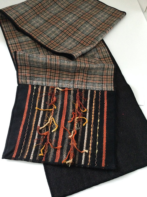 Wool Scarf w/ Decorative Threads-black/ rust/ creme