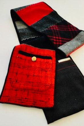 Scarf w/ pockets- red, black, gray