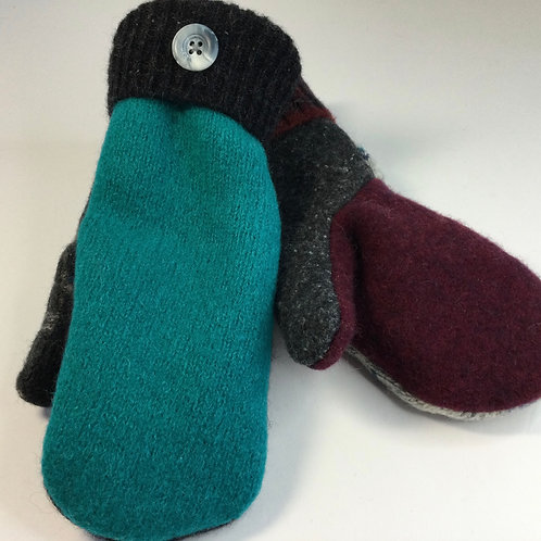 Sweater Mittens- gray, teal, burgandy