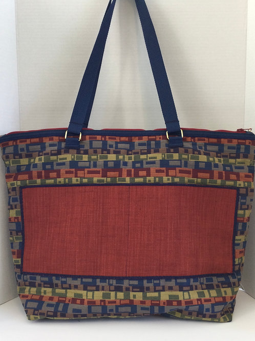 X-Large Tote/ Project Bag- Navy, Red, Sage