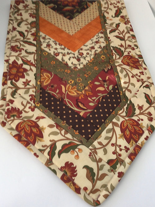 Quilted Table Runner- brown, creme, rust