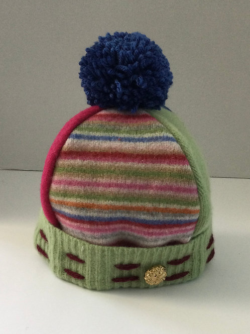 Sweater Hat- Pink, blue, green
