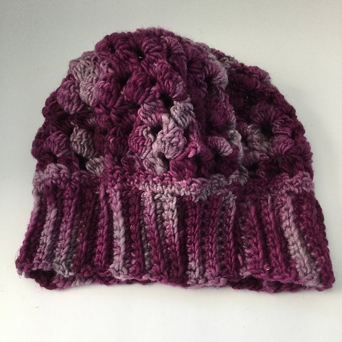 Woman's Crocheted Hat- varigated reds