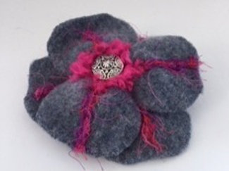 Lapel pin- gray, hot pink