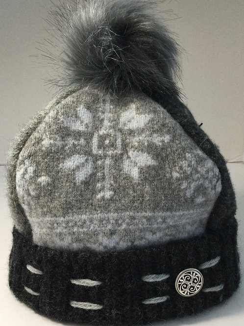 Sweater Hat- shades of gray, light blue