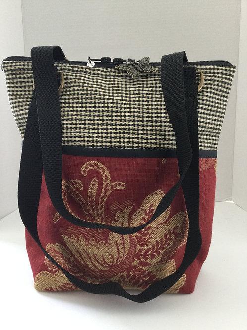 Medium Shoulder Bag- black & dark red