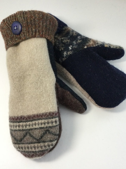 Sweater Mittens- Navy, taupe, brown