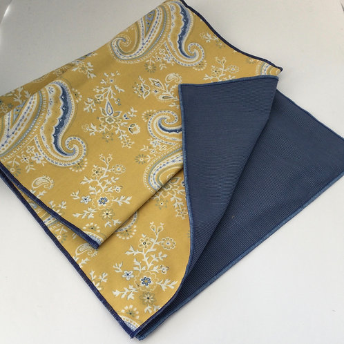 Reversible Table Runner- yellow & blue paisley w/ solid blue