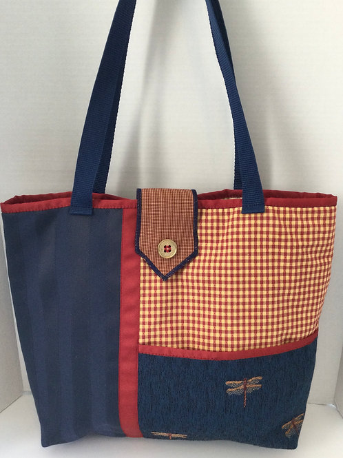 Large Tote/ Project Bag-Navy, Red, Gold- Dragon Flies