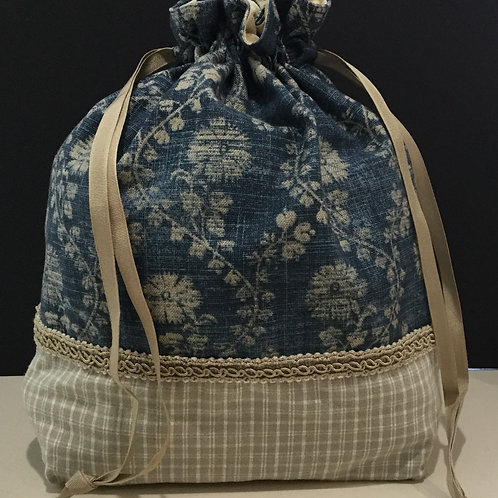 Draw String Tote/ Project Bag- navy, taupe, creme
