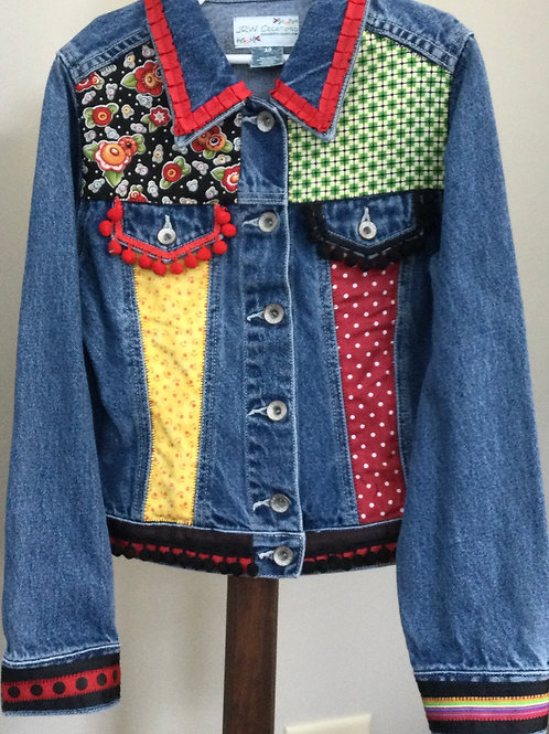 Jeans Jacket- red, green, yellow- 10