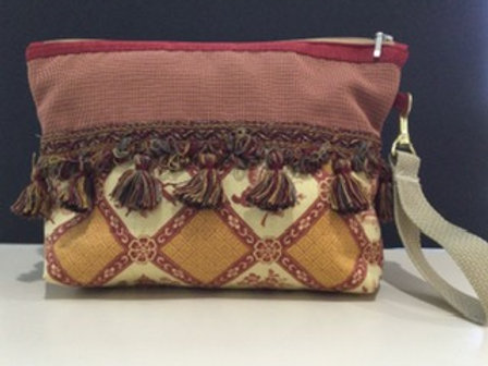 Large Wristlet- red, yellow check; red, yellow floral