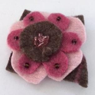 Lapel pin- pinks, brown