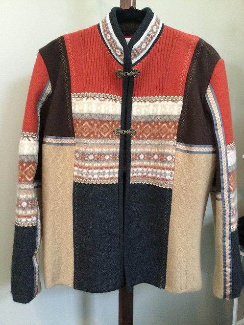 Sweater Jacket- rust, beige, brown- XL