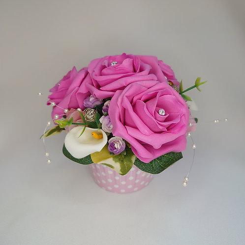 Pink Rose Cupcake Flower Arrangement