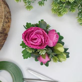 Bright Pink Ranunculus Lapel, Wrist, Handbag Corsage, Artificial Wedding FLowers