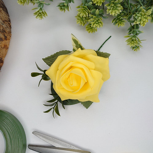 Yellow Rose Buttonhole or Lapel/Wrist/Handbag Corsage
