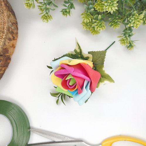 Rainbow Rose Buttonhole or Lapel/Wrist/Handbag Corsage