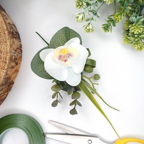 White Orchid Buttonhole or Lapel/Wrist/Handbag Corsage