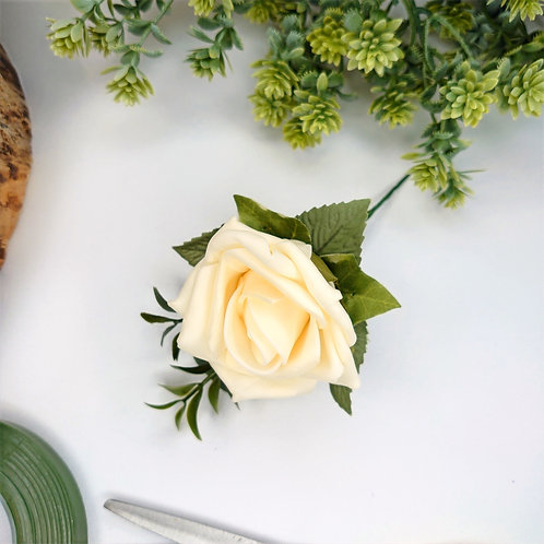 Champagne Rose Buttonhole or Lapel/Wrist/Handbag Corsage