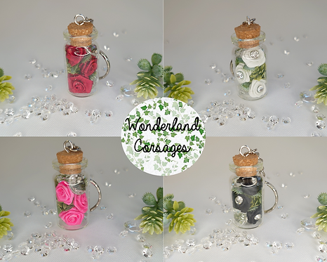 Rose Miniature Glass Bottle Keyring