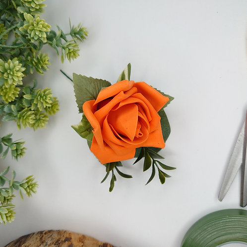 Orange Rose Buttonhole or Lapel/Wrist/Handbag Corsage