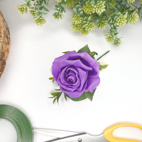 Purple Rose Buttonhole or Lapel/Wrist/Handbag Corsage