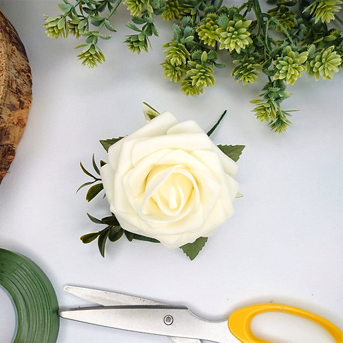 Cream Rose Buttonhole or Lapel/Wrist/Handbag Corsage