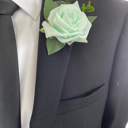 mint rose buttonhole