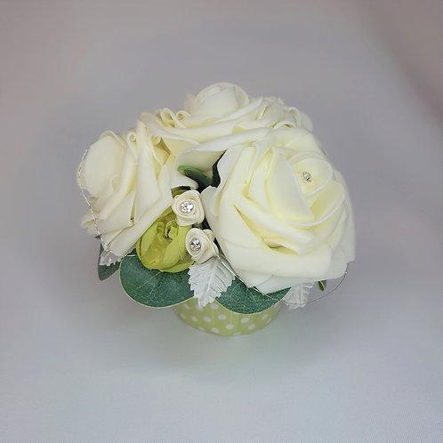 White Rose Cupcake Flower Arrangement